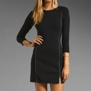 Juicy Couture Black 3/4 Sleeve Dress Leather Trim